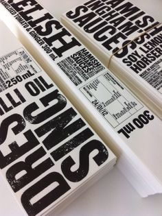 Creative Package Design Archive and Gallery: Hamish Ingham's Sauces using letterpress style typography Bold Typography, Typography Design, Lettering, Packaging Design Inspiration, Graphic Design Inspiration, Label Design, Package Design, Menu Design, Print Design