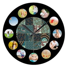 Teal Tan Paisley Quilted Pattern Photo Collage Large Clock find more personalized clocks at www.mouseandmarker.com