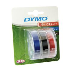 Dymo Embossing Tape Self-Adhesive, 9 mm x 3 m - Assorted Colour, Pack of 3: Amazon.co.uk: Office Products