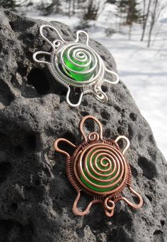 Wire wrapped turtle pendant with sea glass by SeaglassPetraDesigns, $45.00