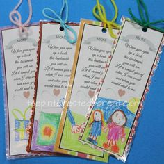 When you open up a book, this bookmark you will see. Let it remind you of when I was small and when you would read to me. Available in grandma too.