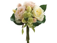 Real Touch Rose and Astrantia Bouquet in Peach Yellow - 12 Tall - this place has the best prices on Realtouch - Afloral (on-line)