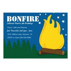 Find customizable Camping invitations & announcements of all sizes. Pick your favorite invitation design from our amazing selection. Bonfire Birthday Party, Birthday Parties, Birthday Ideas, Camping Invitations, Birthday Party Invitations, Sweet Sixteen Parties, Invitation Design, Rsvp, Projects To Try