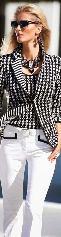 b51af2d8b2 Madeleine ~ Knit Blazer Bianco E Nero, Completi Bianchi, Moda Per Teenager,  Tendenze