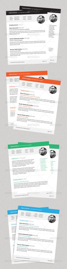 Clean Resume\/CV in 5 Color-Styles #GraphicRiver Clean - resumes with color