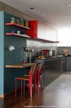 cozinha americana vermelha