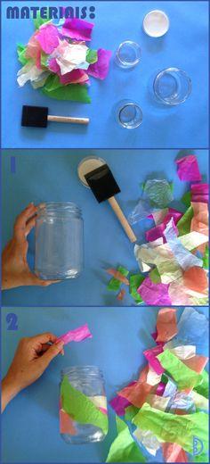 Potes de vidro cobertos com papel | Glass jar decorated with paper