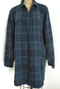 "NWT-CP SHADES DOUBLE COTTON OMBRE- BLUE PLAID  ""TETON"" TUNIC DRESS Sz. LARGE #CPSHADES #Tunic #Any"