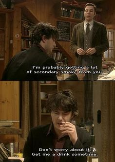 Bernard Black in Black Books.I frickin' loved this show! British Humor, British Comedy, Black Books Quotes, Dylan Moran, Teacher Humour, Funny Memes, Hilarious, Comedy Tv, Comedians