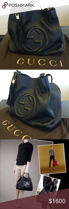 1c4ea077140c Gucci soho hobo black shoulder bag / tote large Cellarius leather. 100%  authentic Light
