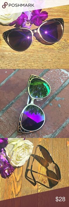 """Royal Feline"" Art Nouveau Deco Horn Rim Cat Eye ⭐️TOP SELLERNEXT DAY SHIP⭐️ Up your vacay selfie game with these trendy new sunglasses. UV400 protected. Black felt soft case included. Brand-new with tags!  Women's diva double frame art deco trim gradient lens designer sunglasses. Gold Frame black Tip metal plastic sunnies with Purple mirrored lens.  Measurements coming soon! Accessories Sunglasses"