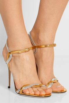 Gucci | Two-tone metallic leather sandals | NET-A-PORTER.COM