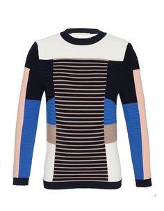 Jonathan Simkhai, Viscose-Acrylic Sweater, color blocking, mixed patterns LOVE
