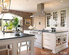 With plenty of cooktops and counter space, this kitchen was designed to host a large group. - Photo: Peter Rymwid / Design: Jim Dove