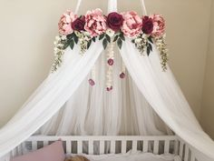 Floral crib canopy Floral Teepee Floral nursery Floral crib mobile Floral tent R… – Girls Room 2020 Baby Girl Nursery Bedding, Chic Nursery, Floral Nursery, Nursery Room, Baby Room, Nursery Ideas, Bohemian Nursery, Gold Nursery, Rustic Nursery