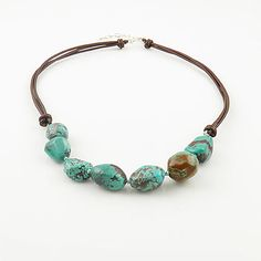 Turquoise Brown Leather Sterling Necklace | KejaJewelry - Jewelry on ArtFire