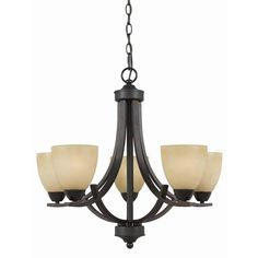 Value Series 240 English Bronze Five Light Chandelier Triarch International Glass Shade Ch