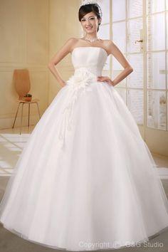 Ball-Gowns Tulle Glamorous Strapless Beading/Sequins/Flowers Zipper White Sleeveless Natural Floor-length Wedding Dress