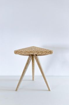 Unique hand caned rattan stool from the Matmatic collection by Dutch design company JONGHLABEL.   Furniture, design, craft