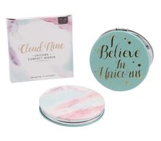 'I believe in unicorns' printed in gold on the front. Cloud nine unicorn compact mirror. Perfect for in your handbag or school bag. Compact Mirror, Retail Packaging, Birthday Gifts, Unicorn, Container, Place Card Holders, Clouds, Mermaids, Prints