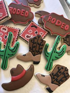 Cowboy Cowgirl Sugar Cookie Assortment Rodeo Wild West Theme - This Listing Is For One Dozen Sugar Cookies Each Cookie Measures Approx Inches Each Cookie Is Baked Fresh And Hand Decorated With Royal Icing In Our Commercial Kitchen With Quality Ingredien Wild West Theme, Wild West Party, Wild Wild West, Lemon Biscuits, Cookies Et Biscuits, Rodeo Birthday Parties, 16th Birthday, Birthday Ideas, Anniversaire Cow-boy