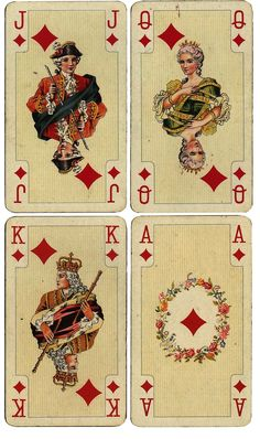 Wings of Whimsy: Antique French Playing Cards - Diamonds - free for personal use #ephemera #printable #vintage