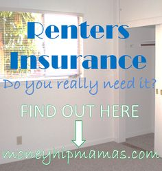 Awesome post about Renter's Insurance. Important information for when you rent a new apartment. Money Hip Mamas: Renters insurance: Do you really need it?