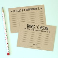 Words of wisdom cards {for the bride and groom}