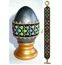 Flower Frolic Egg Wrap & Bracelet Beading Pattern at Sova-Enterprises.com