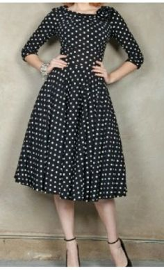 Womens Vintage 1950s Polka Dot Dress with Flower Applique. - Apostolic Clothing Co. #modest #clothing