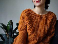 Crochet Sweater pattern PDF Goldenrod Sweater top down one