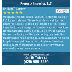 We have known and worked with Jim at Property Inspector LLC for several years. We see how...