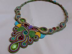 Rainbow  soutache necklace by JoannaArt77 on Etsy, $129.00