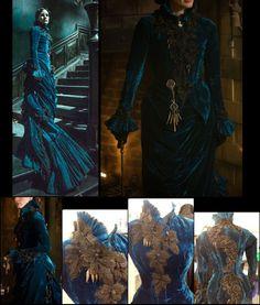 """Del Toro's """"Crimson Peak,"""" . Costume Designer Kate Hawley for protagonist Lucille Sharpe (Jessica Chastain) http://costumedesignersguild.com/articles-videos/pick-of-the-week/crimson-peak/"""
