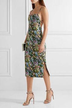 CUSHNIE ET OCHS Donna open-back floral-print stretch-cady dress green.Multicolored stretch-cady Tie and concealed zip fastening at back 96% polyester, 4% elastane Dry clean
