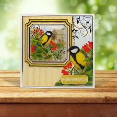 This card was made using the 'Great Tit & House Sparrow' topper set from the Birds of Britain Collection