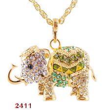 Unique Jewelry - Christmas Fashion Necklace Crystal Rhinestone Gold Tone Chain Elephant Pendant