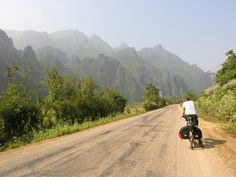 Cycle touring on traffic free Laos roads #cycletouring #cycling #whyIride #ridemore