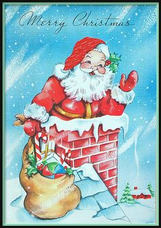 Merry Christmas Santa on roof Vintage Christmas Images, Retro Christmas, Vintage Holiday, Christmas Pictures, Christmas Art, Christmas Greetings, Christmas Holidays, Christmas Mantles, Santa Pictures