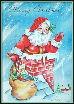 Merry Christmas Santa on roof Vintage Christmas Images, Retro Christmas, Christmas Pictures, Christmas Art, Christmas Greetings, Christmas Mantles, Santa Pictures, Christmas Villages, Victorian Christmas