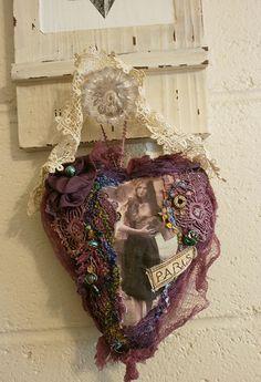 Shabby fabric heart