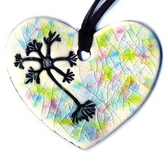 Multipolar Neuron Heart Ceramic Necklace in Multicolor by surly, $20.00
