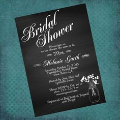 Bridal Shower Invitation Chalkboard Mason Jar by InvitesToYou