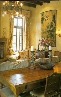 French furniture and antique tapestry.