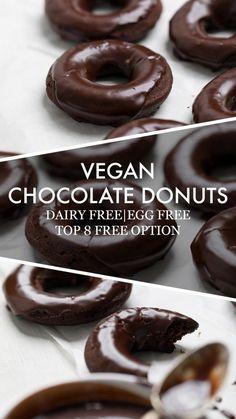 Vegan Donut Recipe, Vegan Doughnuts, Baked Donut Recipes, Healthy Donuts, Baked Donuts, Dairy Free Donuts, Dairy Free Eggs, Dairy Free Recipes, Gluten Free