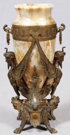 egyptian revival bronze urn | 19th C