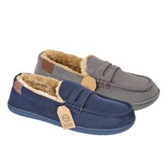 Mens Luxurious Moccasins Fleecy Fur Suede Lined Slippers Hard Sole Size 7-12  #JoJoe #Moccasins