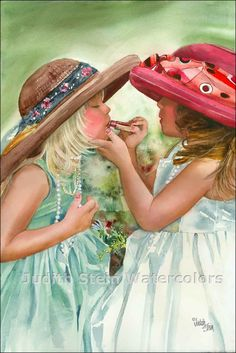 GIRL FRIENDS Dress Up 15 x 22 Giclee by steinwatercolors on Etsy. These girls kind of look like twins.this reminds me so much of us when we played dress up as kids! Glam Girl, Pics Art, Playing Dress Up, Love Art, Watercolor Paintings, Watercolors, Painting Art, My Girl, Friendship