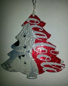 Recycled Coke can Embossed Christmas Tree Ornament HANDMADE