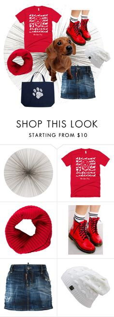 """""""Have a PAWsome Day!"""" by dogzprinted ❤ liked on Polyvore featuring Tisch New York, Burberry, Dr. Martens, Dsquared2, Los Angeles Pop Art, Tee, dogs, DogzPrinted and redtee"""